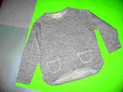 Buho Grey And White Tweed L/s Round Neck/pockets/rounded Hem Sweater S. 6