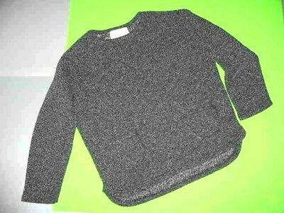 Buho Black/white Tweed  L/s Pullover With 2 Pockets /  Rounded Hem S.6