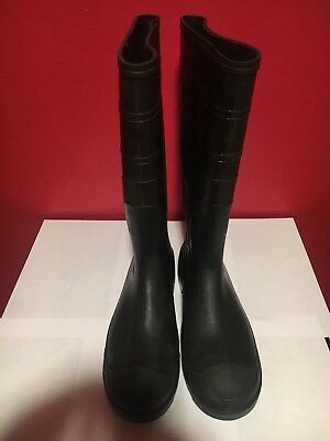 Steel Toe Slip Resistant Black Rubber Boots Mens Size 10