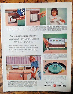 General Electric washer ad 1959 original & vintage 1950s GE retro home decor art