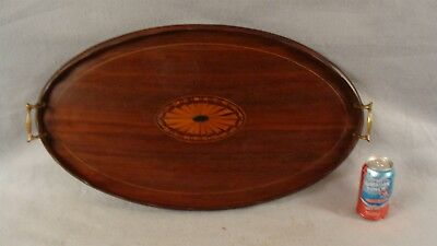 """Antique 19C Inlaid Fan Bellflower Mahogany 26"""" Oval Serving Tray"""