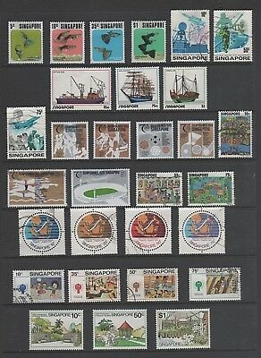 Singapore Small Stamp Collection, 1970's Used / Mint