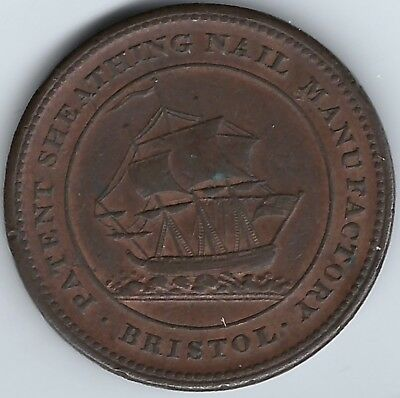 GREAT BRITAIN Bristol Patent Sheathing 1811 Penny Token Withers 460 Inv 3780