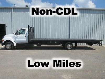 F650 Cummins Automatic  24Ft Flat Stake Bed Body Lift Gate Truck Non-Cdl Low Mi