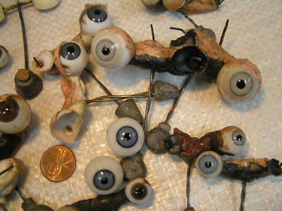 LOT OF 24  Antique GLASS  DOLL  EYES    Rockers  ONE PAIR Plastic  Doll REPAIR