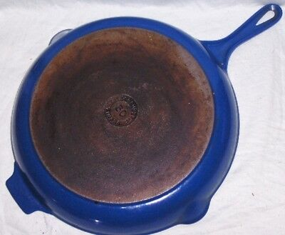 "Vintage Blue Enamel Cast Iron Le Creuset #30 Heavy Duty 12"" Chefs Skillet France"
