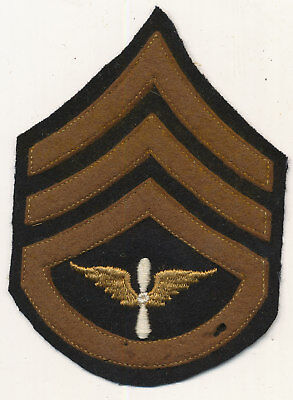 US Army Air Force chevrons patch Staff Sergeant wool prop and wing twill WWII