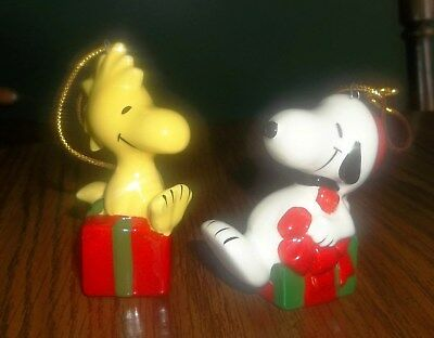 2 Vintage Ceramic Peanuts Snoopy & Woodstock on Christmas Packages Ornaments