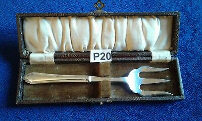 "Antique  Silver Plated Good Solid Bread Fork 7""  Boxed"