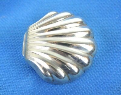 Vintage 925 Sterling Silver Miniature Clam Shell Pill Trinket Snuff Box 18.4g