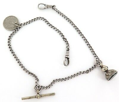 LATE 1800s ENGLISH STERLING SILVER DOUBLE ALBERT POCKET WATCH CHAIN + FOB + COIN