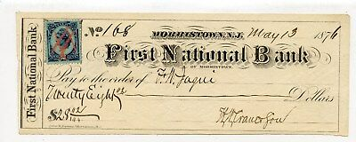 First National Bank Morristown New Jersey Bank Check May 13Th, 1876