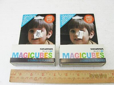 Sylvania Blue Dot MagiCubes 2 Packages New Old Stock 24 Flashes Flash Bulbs