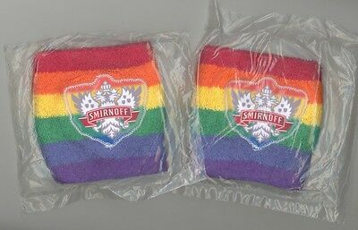 2 Smirnoff Vodka LGBTQ Rainbow Wristbands NEW-IN-BAG Terry Cloth Promo GAY PRIDE