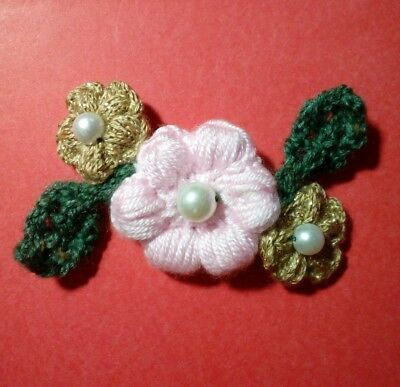Christmas Rose Knitted Brooch