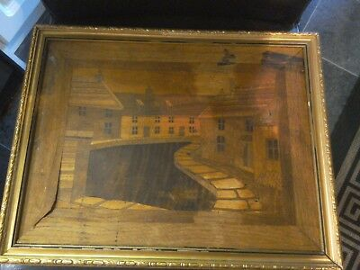 Very Rare  Antique Old Arts and Crafts, marquetry panel/picture