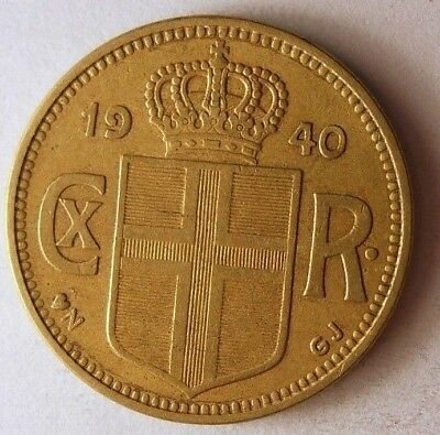 1940 ICELAND KRONA - HIGH GRADE - Strong Value Key Coin - Lot #N12