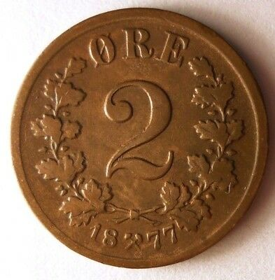 1877 NORWAY 2 ORE - Super Scarce - High Value Coin - High Quality - Lot #N12