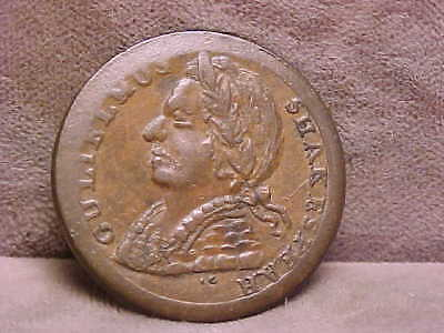 "Colonial Regal Evasion 1/2 Penny ""Shakespeare"" Coin ca 1775 XF/AU"