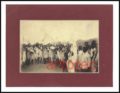 Antique 1930 photograph Somali warriors w spears Africa African LOOK knife