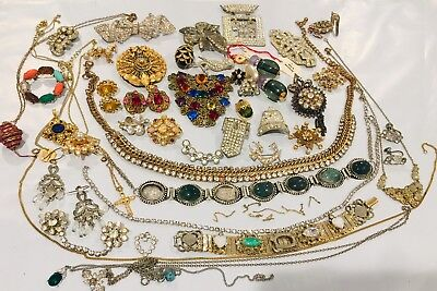 Old Vintage Victorian Antique Art deco Style Jewelry Lot Wear Repair Brooch Ear+