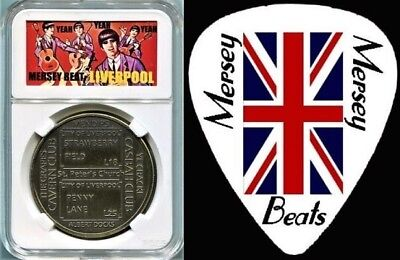 LIVERPOOL Beatles Haunts and Hangouts Medal in Mersey Beat Case and Guitar Pick