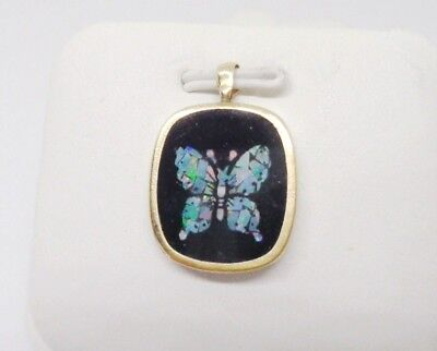 FINE 14KT YELLOW GOLD NATURAL FIERY OPAL ONYX INLAY BUTTERFLY CHARM PENDANT 1.2g