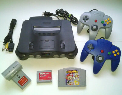 N64 Nintendo 64 Console w/ 2 New Controllers- Super Smash Bros + Rumble + Memory
