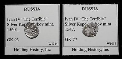 """RUSSIA. Ivan IV """"The Terrible"""", Hammered Silver Kopek, G&K 93 and 77, Pskov lot"""