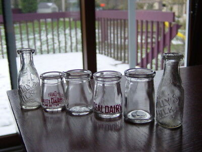6) 1940s Ideal CANADA dairy coffee CREAMER glass TOY milk bottle CANDY CONTAINER