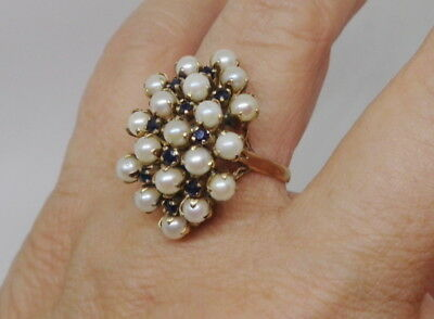 Fine Art Deco Antique Vintage 14K Gold Blue Sapphire Pearl Large Princess Ring