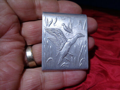 Antique Embossed Etched Aluminum Advertising Tin **matchbook Holder**