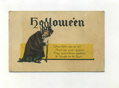 Antique Halloween Postcard Child in Witch Costume Poem Series no 38 vtg