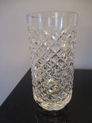 "VIntage Waterford Alana Irish Cut Crystal 8"" Diamond Cut Cylinder Vase Box!"