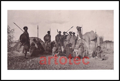 Antique 1900 Albumen photo Ethiopian warriors w spears shields Africa LOOK LARGE