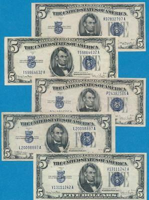 5-$5.00 1934 Mixed Blue Seal Silver Certificate  Lightly Circulated Dealers Lot