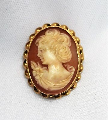 Elegant Vintage 14k Yellow Gold Carved Shell Cameo Relief Brooch Pendant