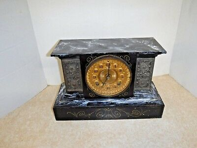 Antique Ansonia Marbleized 8 Day Chime Clock Working Art Nouveau New York
