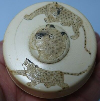 Very Old Japanese Or Chinese Circular Box With Engraved Tigers - Very Rare L@@k