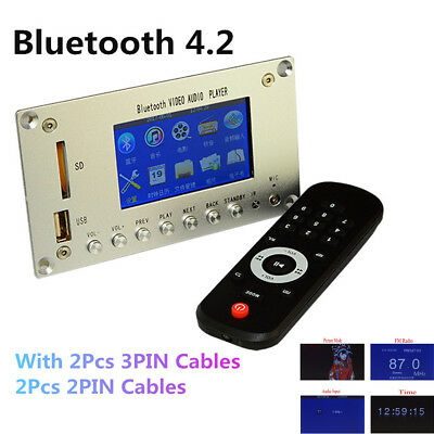 """3""""LCD MP3 Decoder Board Bluetooth 4.2 Audio Receiver HD FM Video Player For Car"""