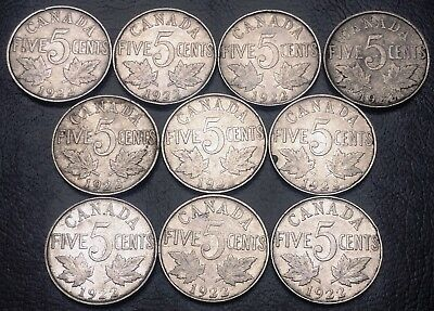Lot of 10x 1922 Canada 5 Cents Nickels - Great Condition Coins