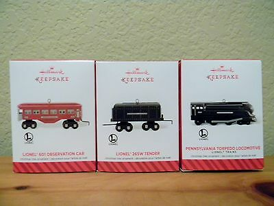 3 2014 Hallmark Ornaments Lionel Torpedo Locomotive Tender Observation Train