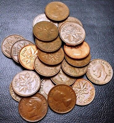 Lot of 25x Canada Small Cent Pennies - Dates: 1941 & 1957