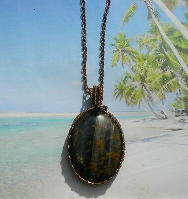 Beautiful Large Blue & Yellow Tiger Eye Necklace in Antique Copper. Handmade