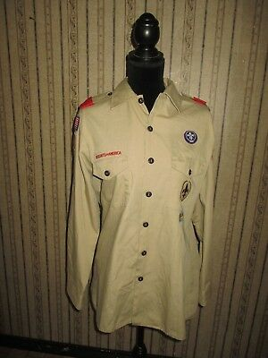 PRE-OWNED men's tan BOY SCOUTS OF AMERICA button front shirt with patches - MED