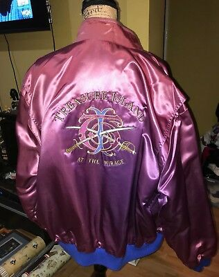 Vtg Las Vegas Treasure Island Mirage Casino Satin Jacket Reversible Wet Look 3Xl