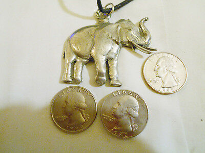 bling pewter MYTH LEGEND TRUNK UP LUCKY elephant pendant charm necklace JEWELRY