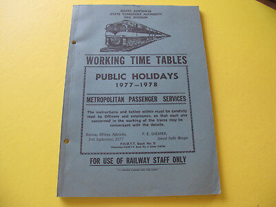1977-78 Working Timetables Book SA State Transport Railway South Australia