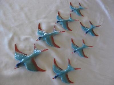 Ceramic Flying Wall Hanging Swallows X 7 - Retro Style (S702)