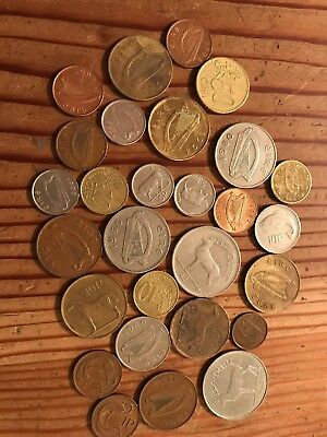 Lot Of 27 'vintage' Irish Coins. Pre-euro Coins